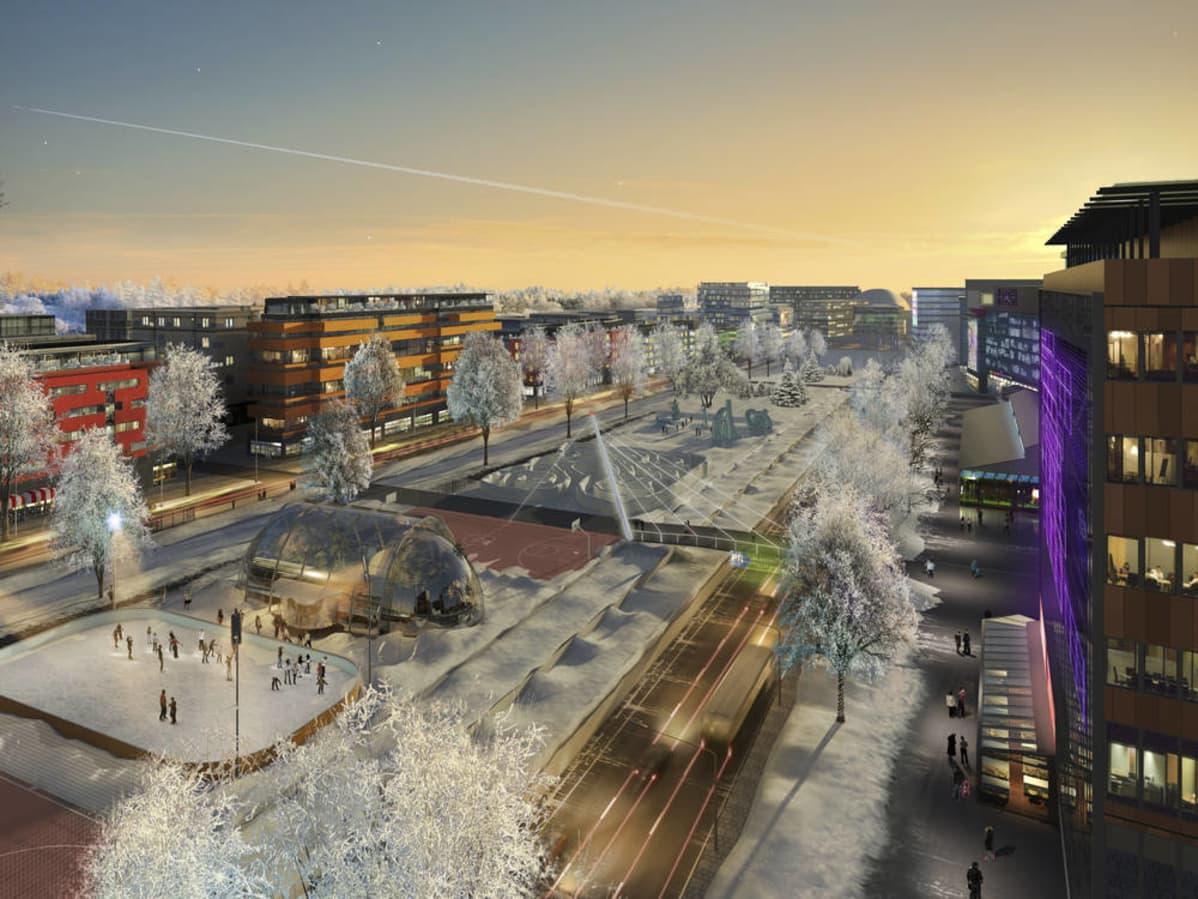 Hämeenlinnanväylän sisääntulokohta voisi tulevaisuudessa näyttää tältä, jos Helsingin visio toteutuu sellaisenaan.
