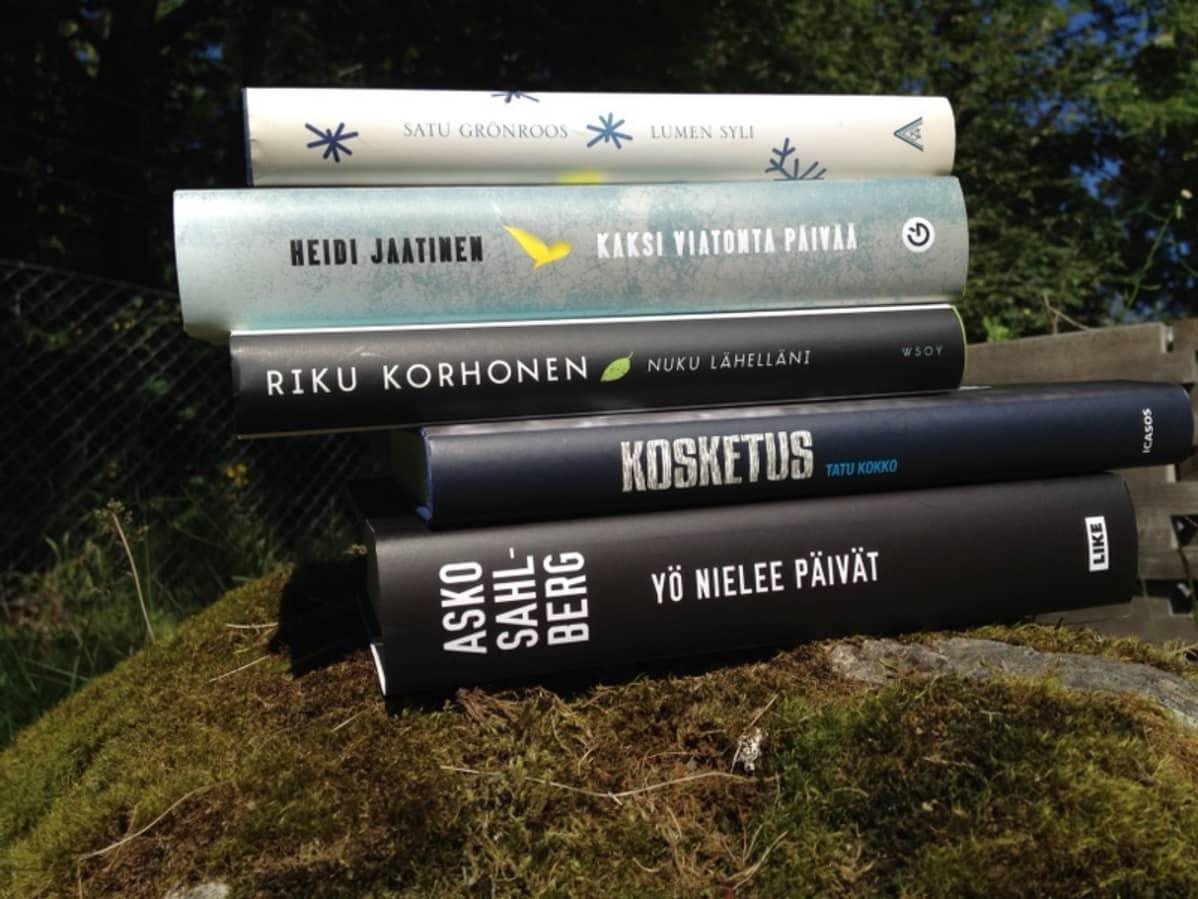Kirjoja pinossa kivellä