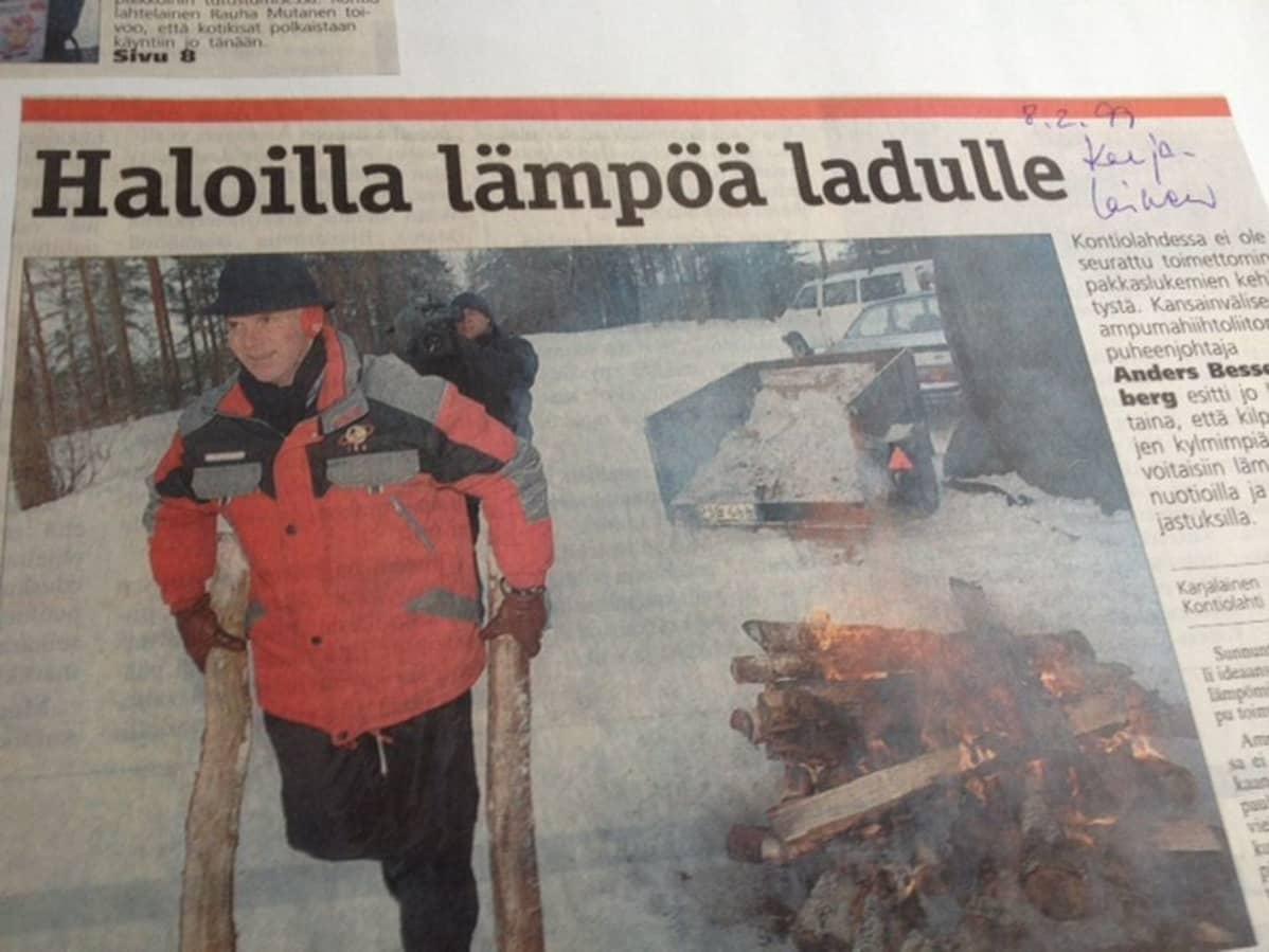 Sanomalehti Karjalaisen artikkeli 8.2.1999.