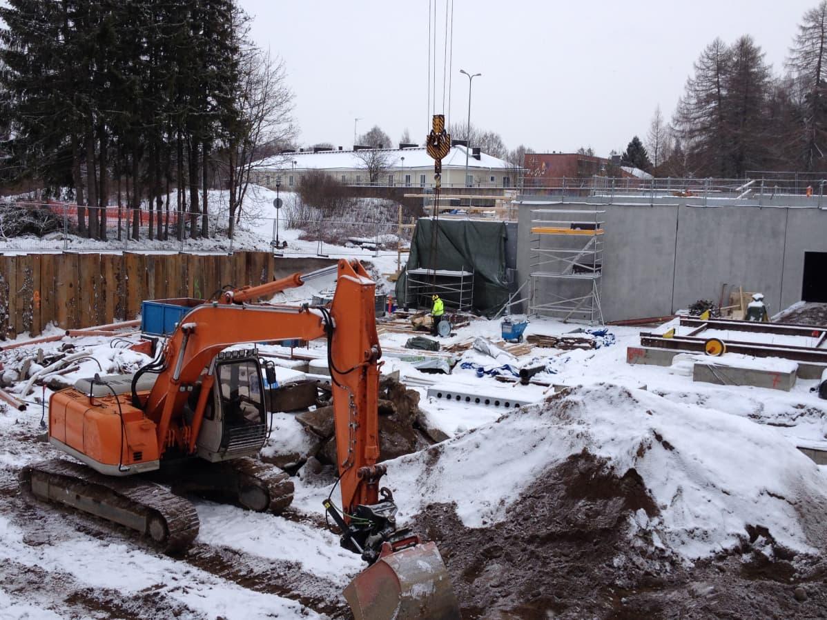 Rakennustyömaa Tuusulassa.