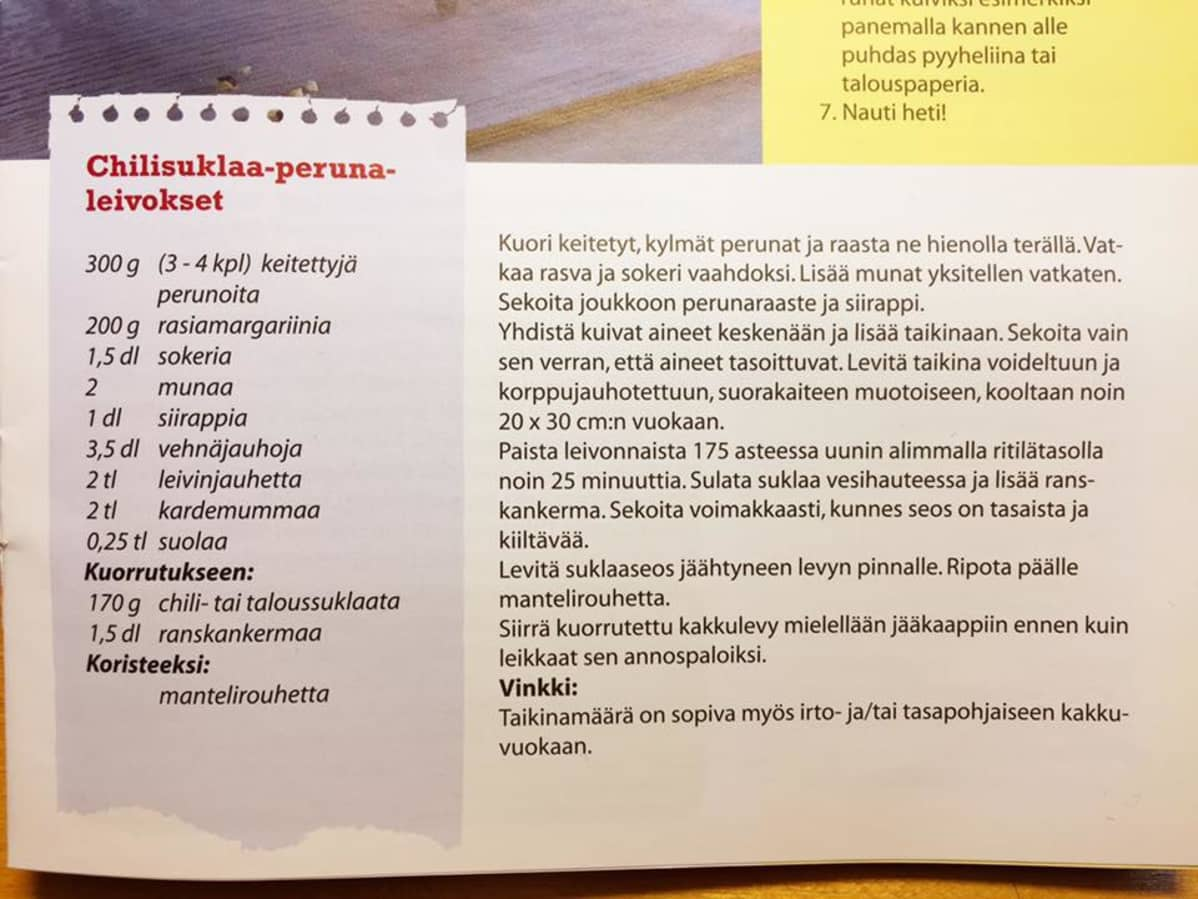Chilisuklaa-perunaleivos resepti