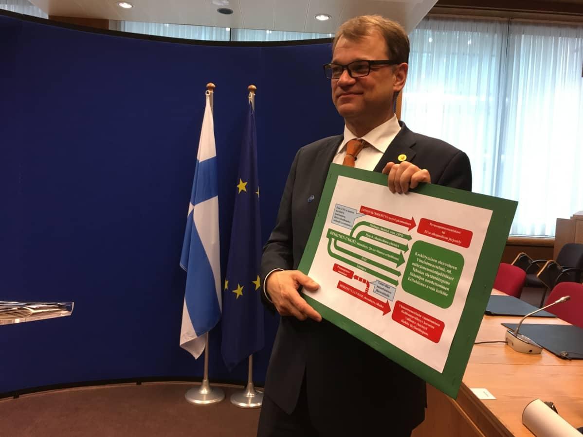 Pääministeri Juha Sipilä (kesk.) esitteli EU-kaaviotaan Brysselissä.