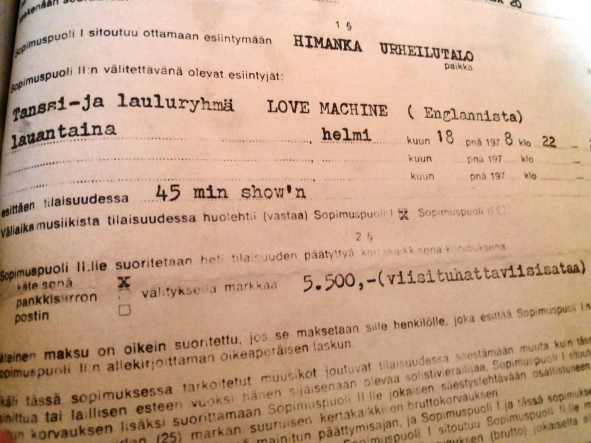 Kuva Love Machinen esiintymissopimuksesta