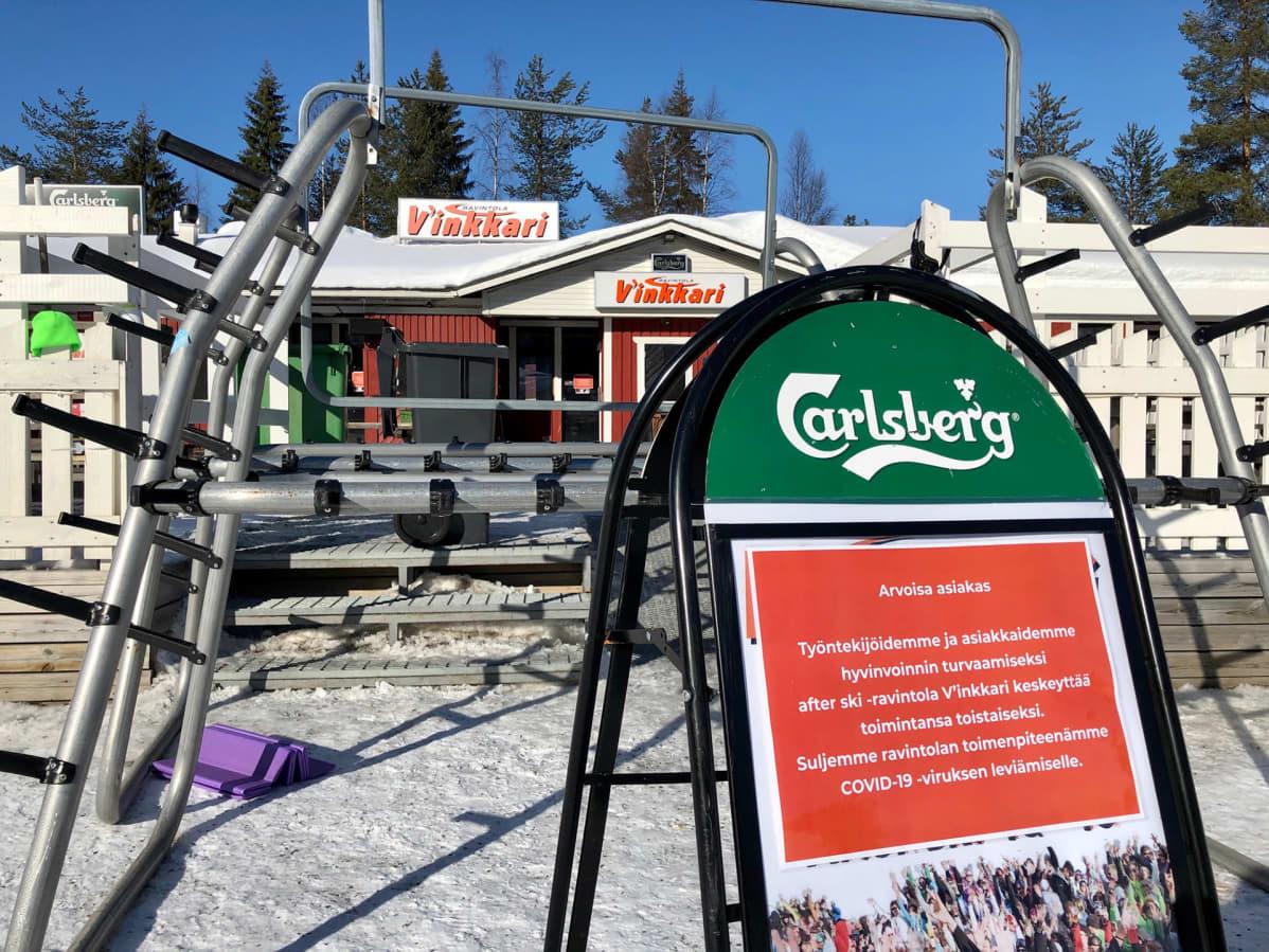 Kyltti ravintola Vinkkarin edessä Levillä, jossa kerrotaan että ravintola on suljettu koronaviruksen vuoksi.