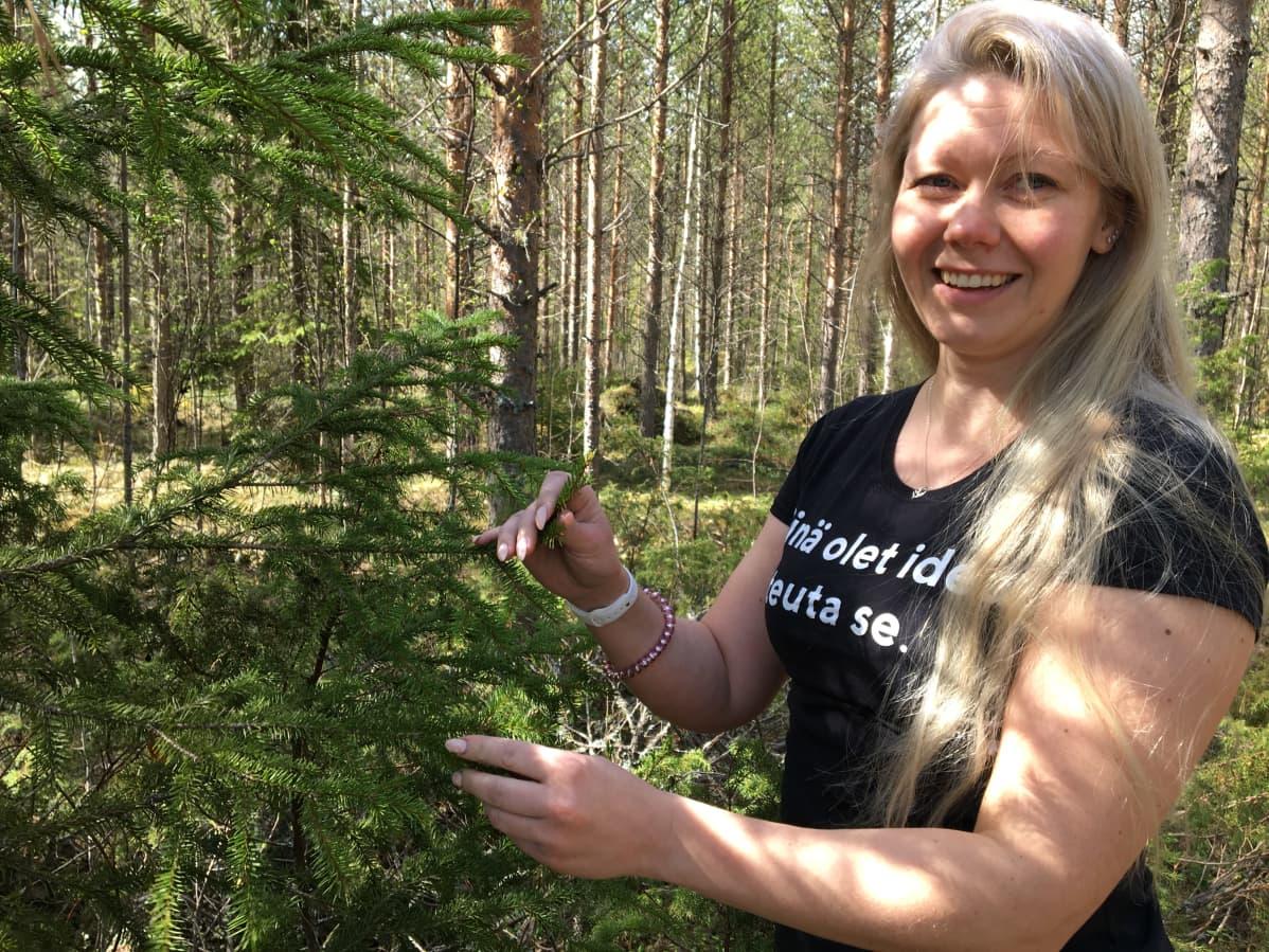 Oulun 4H-yhdistyksen toiminta- ja koulutuskoordinaattori Miia Konttinen kuusen luona kerkkiä etsimässä.