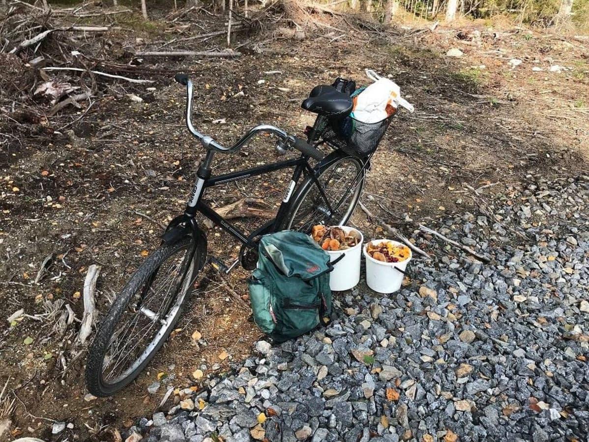 Polkupyörä, reppu ja sieniämpärit soratien varrella.