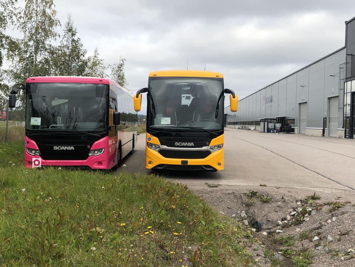 Kaksi linja-autoa yrityksen pihalla.