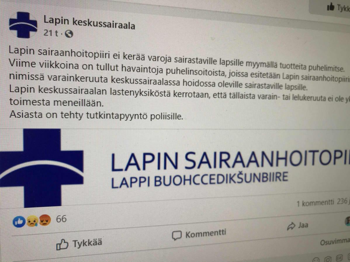 Lapin sairaanhoitopiirin Facebook-päivitys huijaussoitoista.