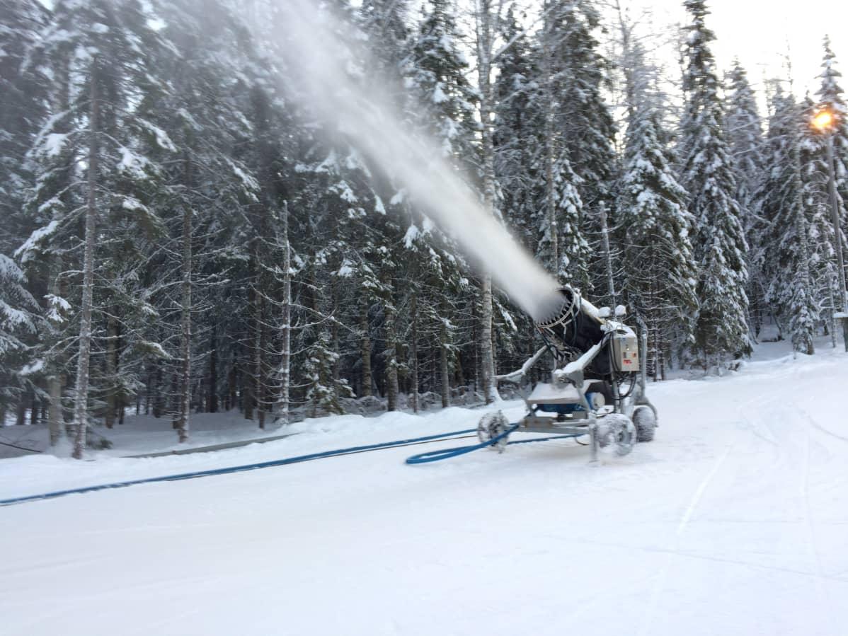 Lumitykki tekemässä lunta laskettelukeskuksen rinteessä