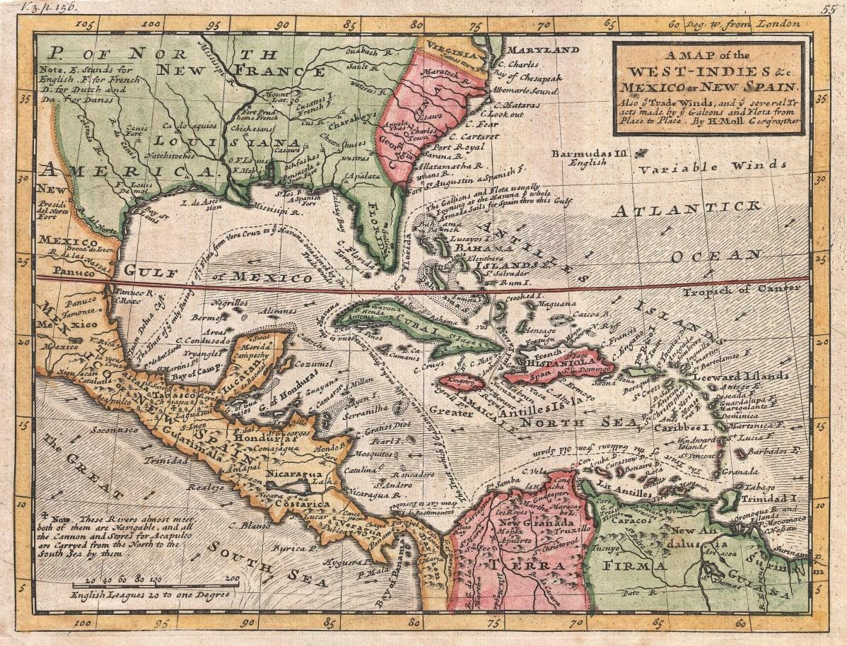 Herman Mollin kartta Karibialta vuodelta 1732. Saint-Barthélemyn saari erottuu pienen pienenä oikeassa reunassa Saint Maartenin kaakkoispuolella.