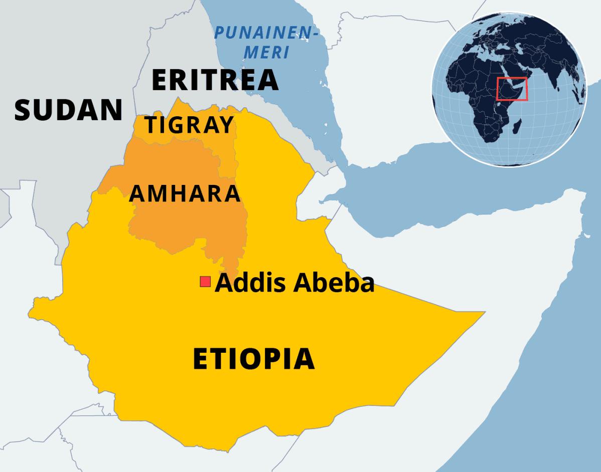 Kartta Etiopiasta.