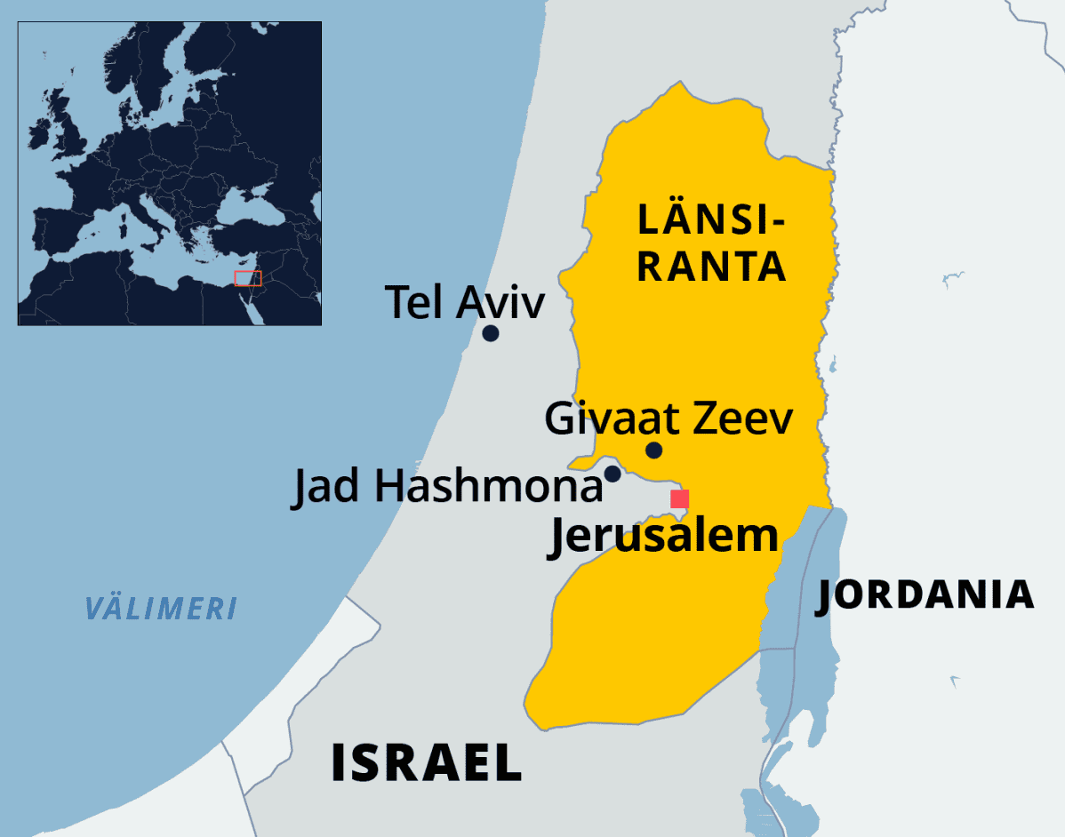 Kartassa Israel ja Länsiranta.