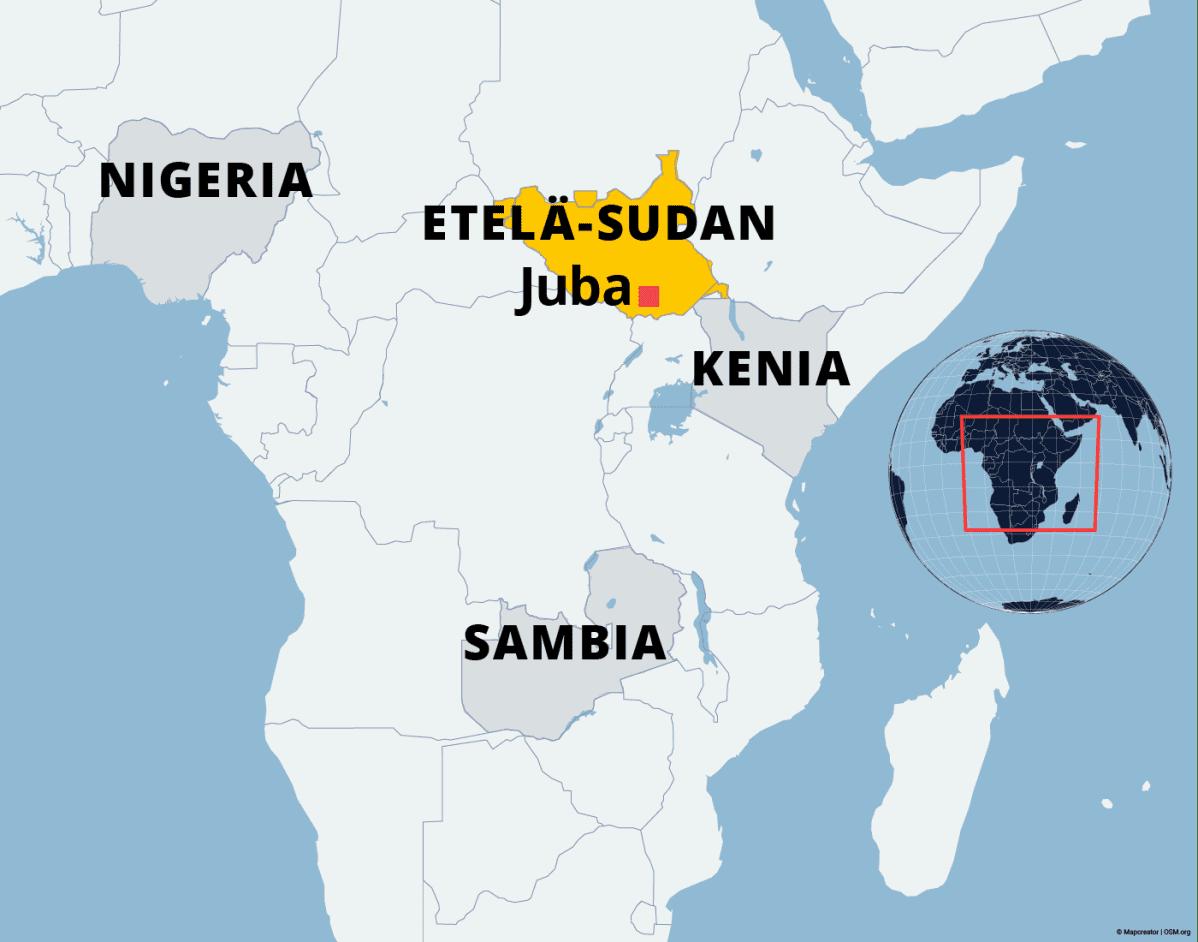 Kartalla Etelä-Sudan, Kenia ja Sambia.