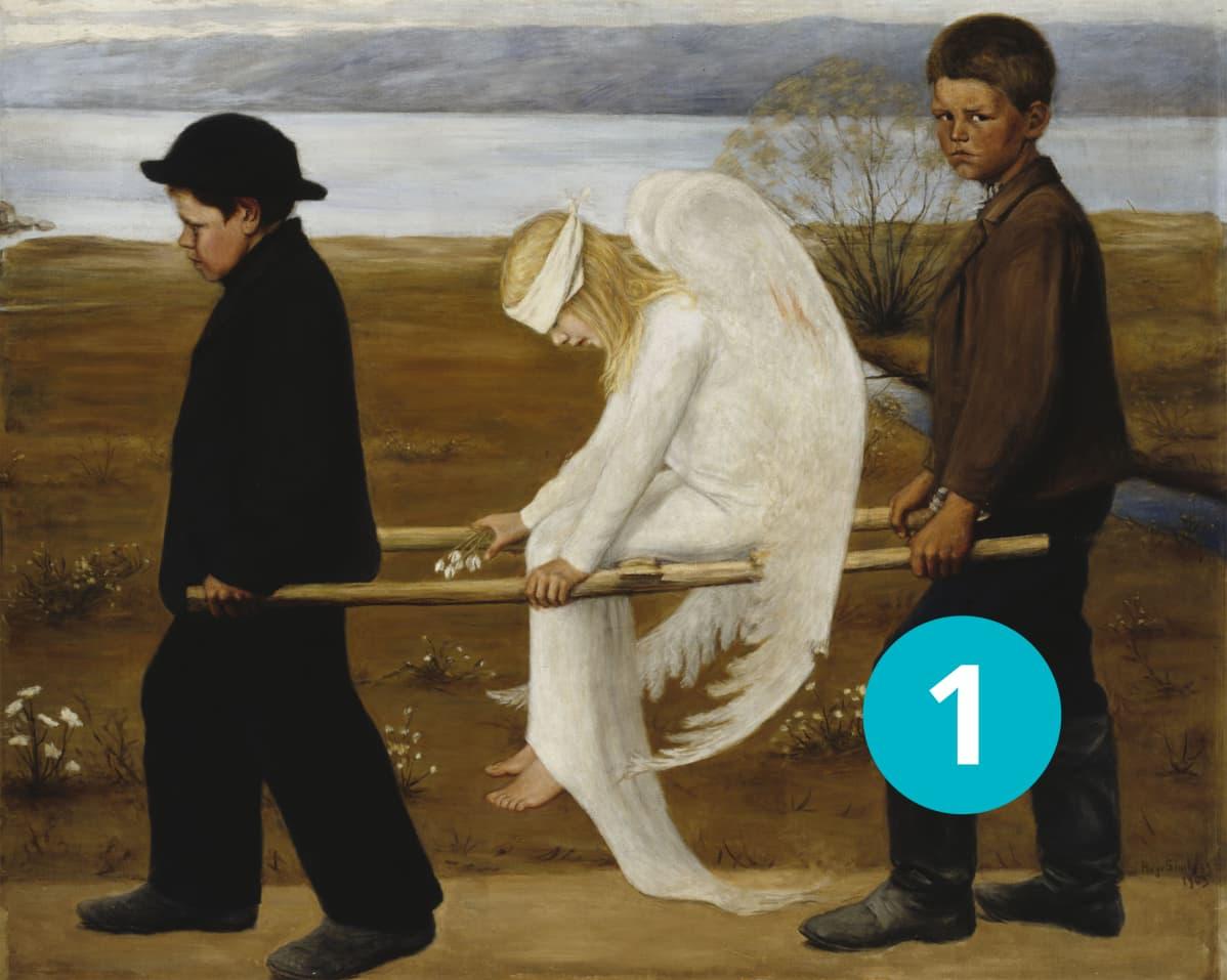 """Hugo Simberg, """"Haavoittunut enkeli""""."""