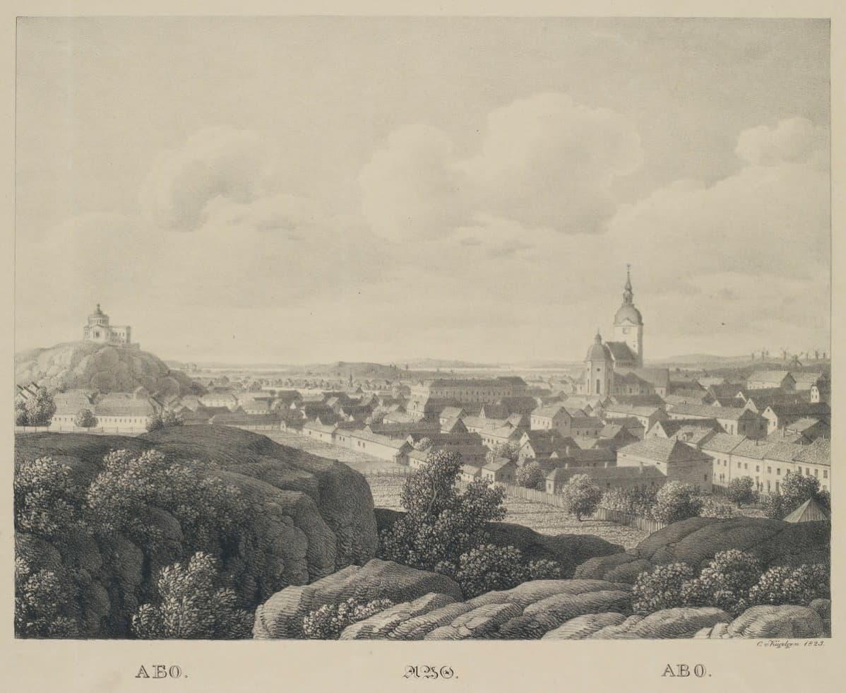 Näkymä Turusta, alkuperäisen kuvan tekijä Carl von Kügelgen