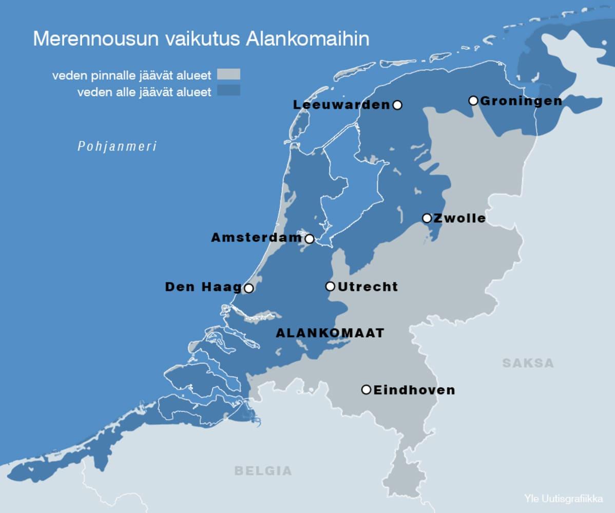 Merennousun vaikutus Alankomaihin -grafiikka.