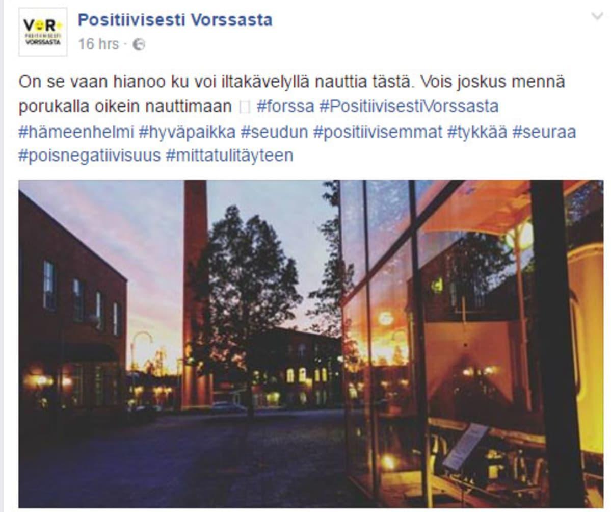 Kuvakaappaus Facebookin Positiivisesti Vorssasta -ryhmästä