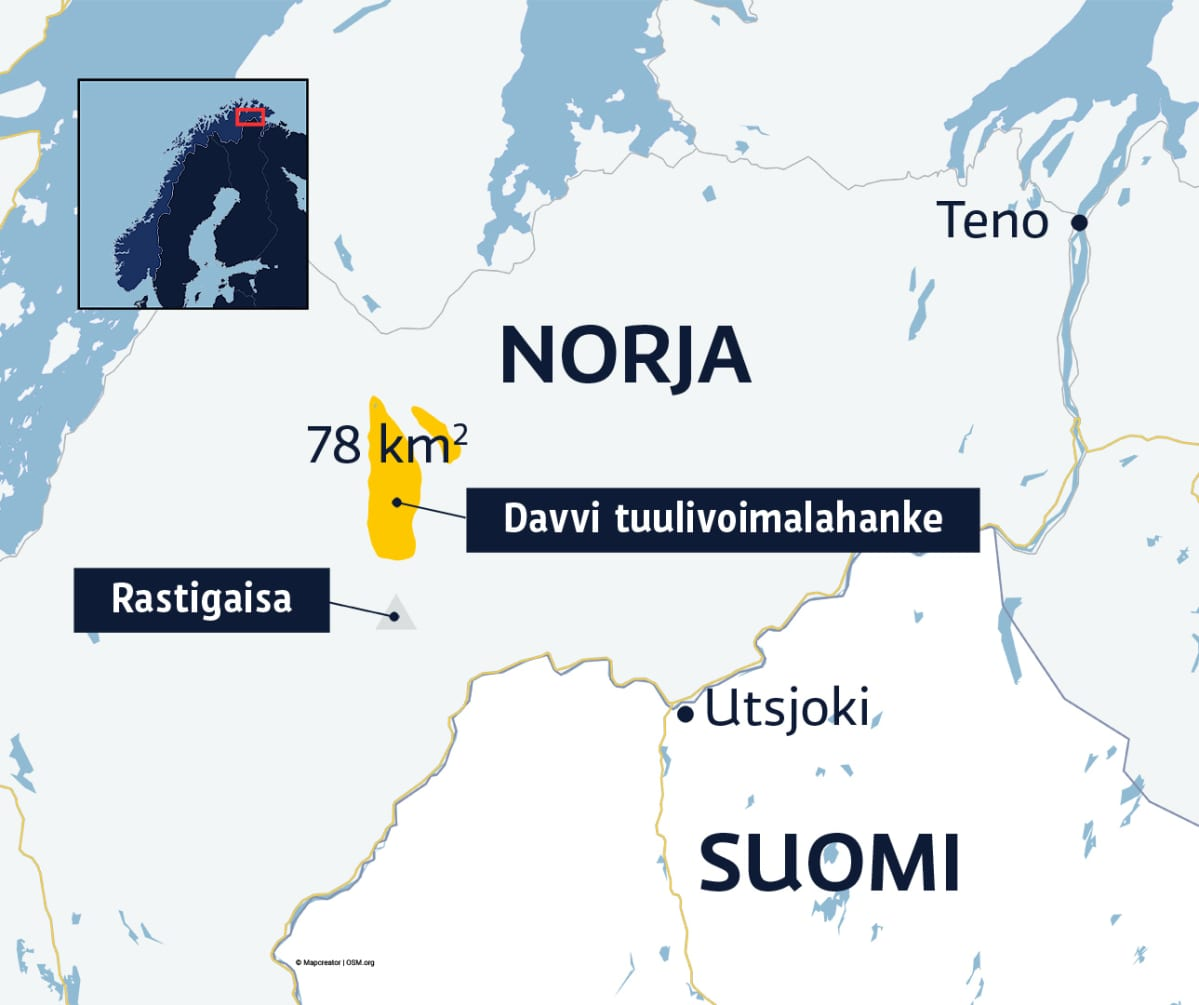 Karttagrafiikka Rastigaisan tuulivoimala-alueen sijainnista.