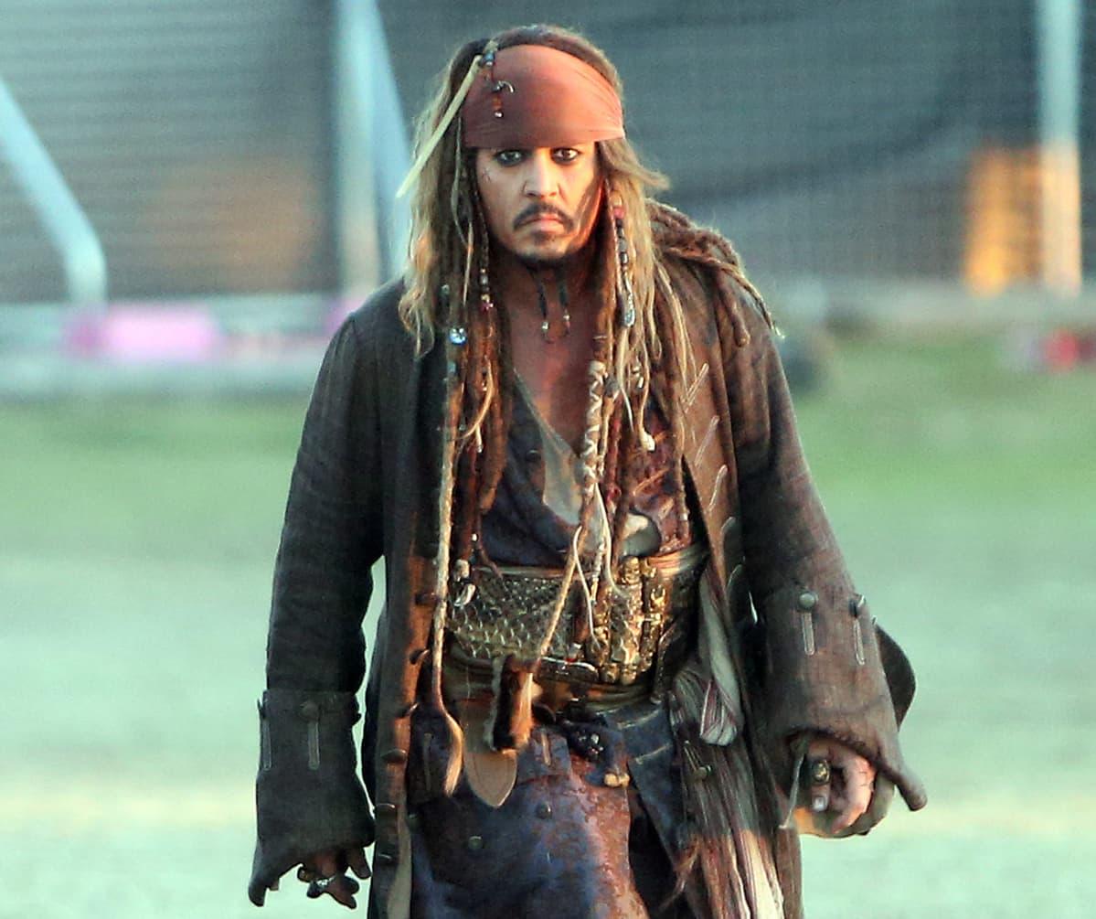 Johnny Depp Pirates of the Caribbean: Dead Men Tell No Tales-elokuvan kuvauksissa Australiassa vuonna 2015.
