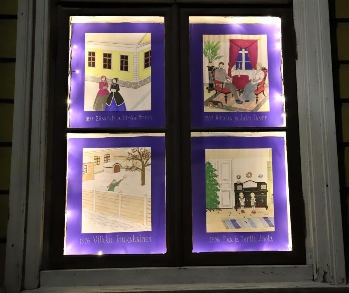 jouluisia piirroskuvia erilaisista perheistä ikkunassa
