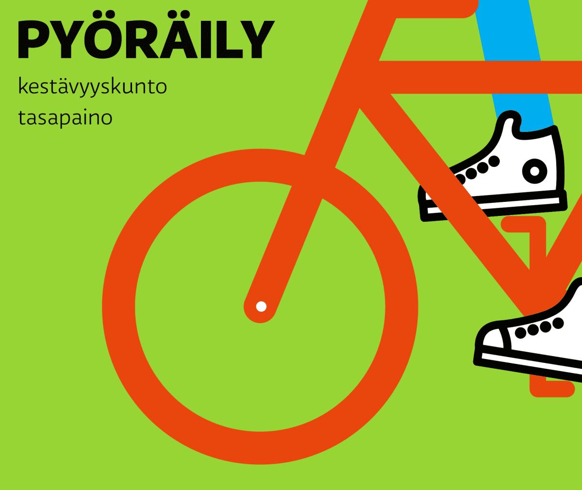 Kuvitus lasten liikunta: pyöräily