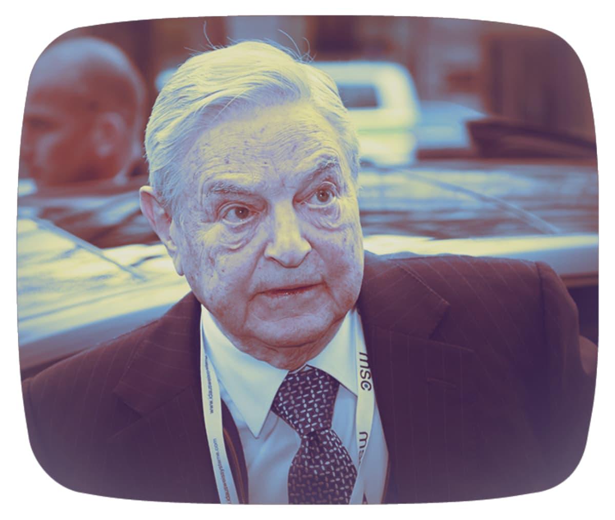 Käsitelty kuva George Sorosista.