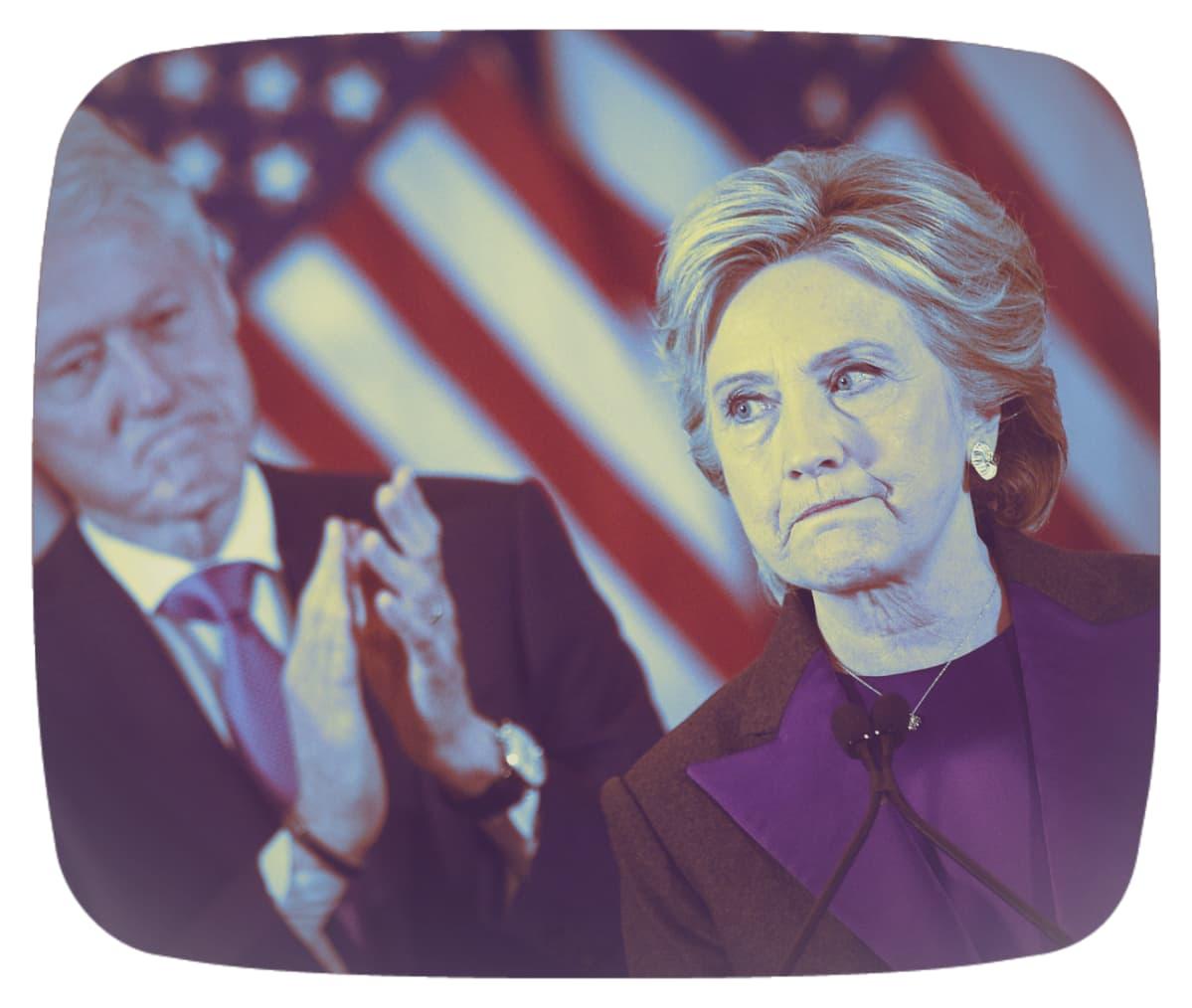 Käsitelty kuva Bill ja Hillary Clintonista.