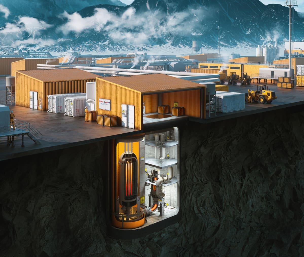 Ultra Safe Nuclearin havainnekuva yhdestä reaktoriyksiköstä.