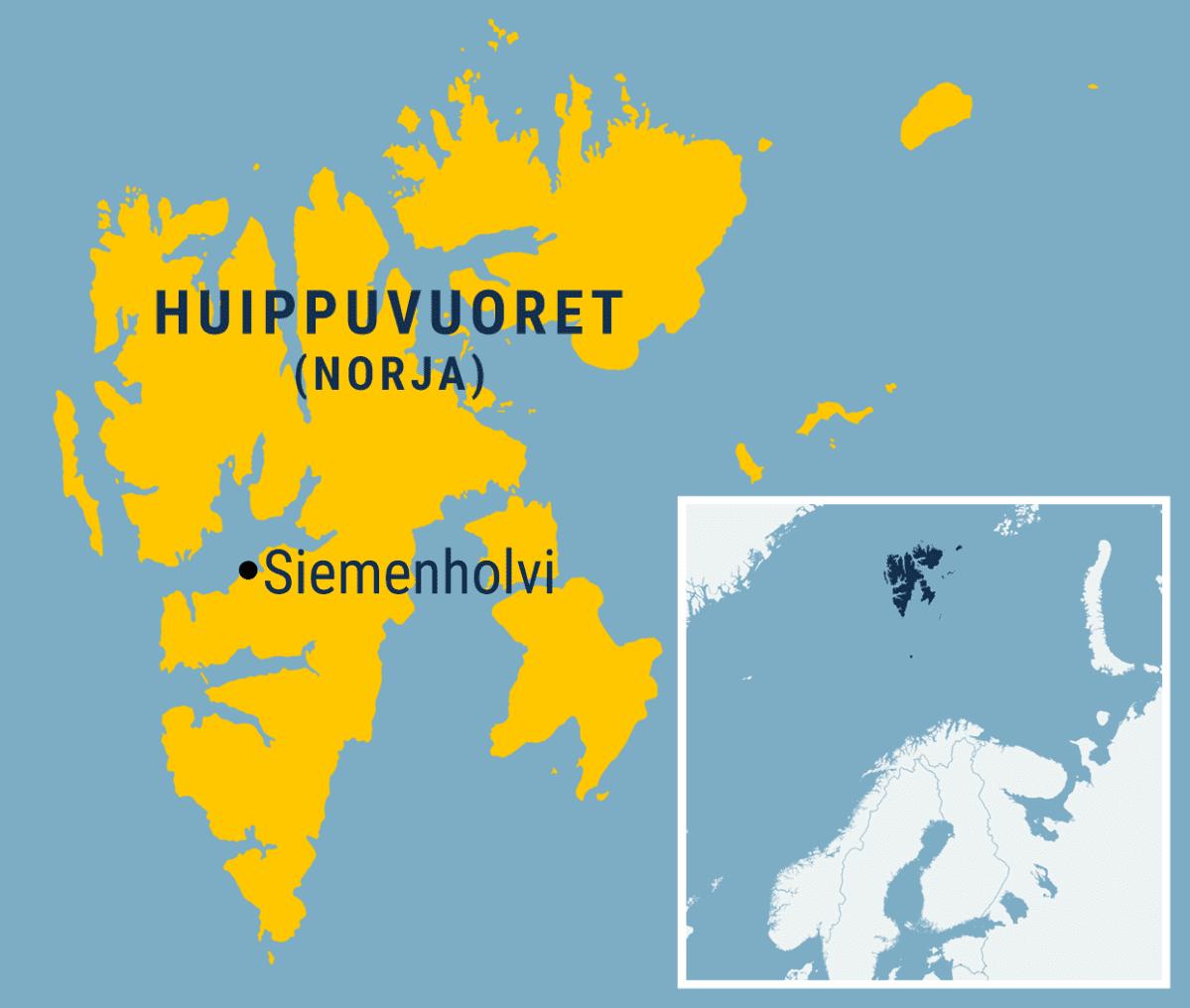Kartta Siemenholvin sijainnista Huippuvuorilla.