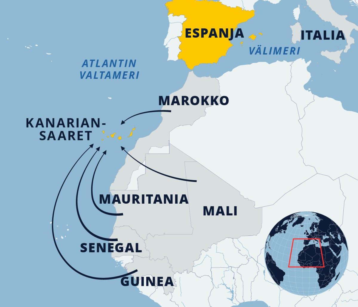 Kartta reiteistä Länsi-Afrikasta Kanariansaarille