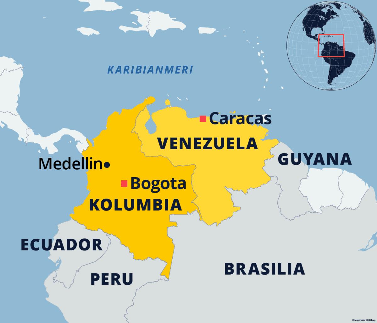 Kartta Kolumbiasta ja Venezuelasta.