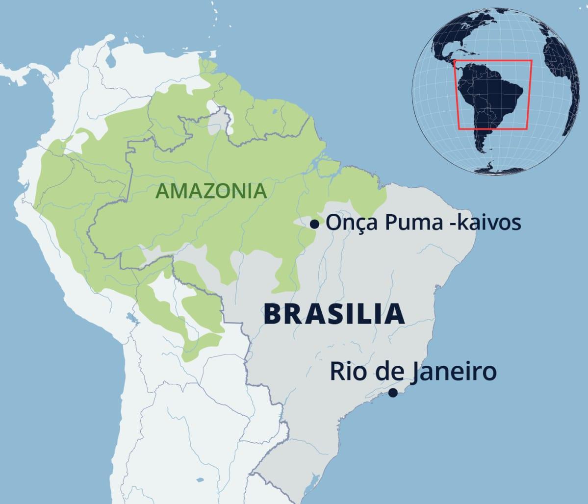 No mapa está a mina Onça Puma no Brasil e na região amazônica.