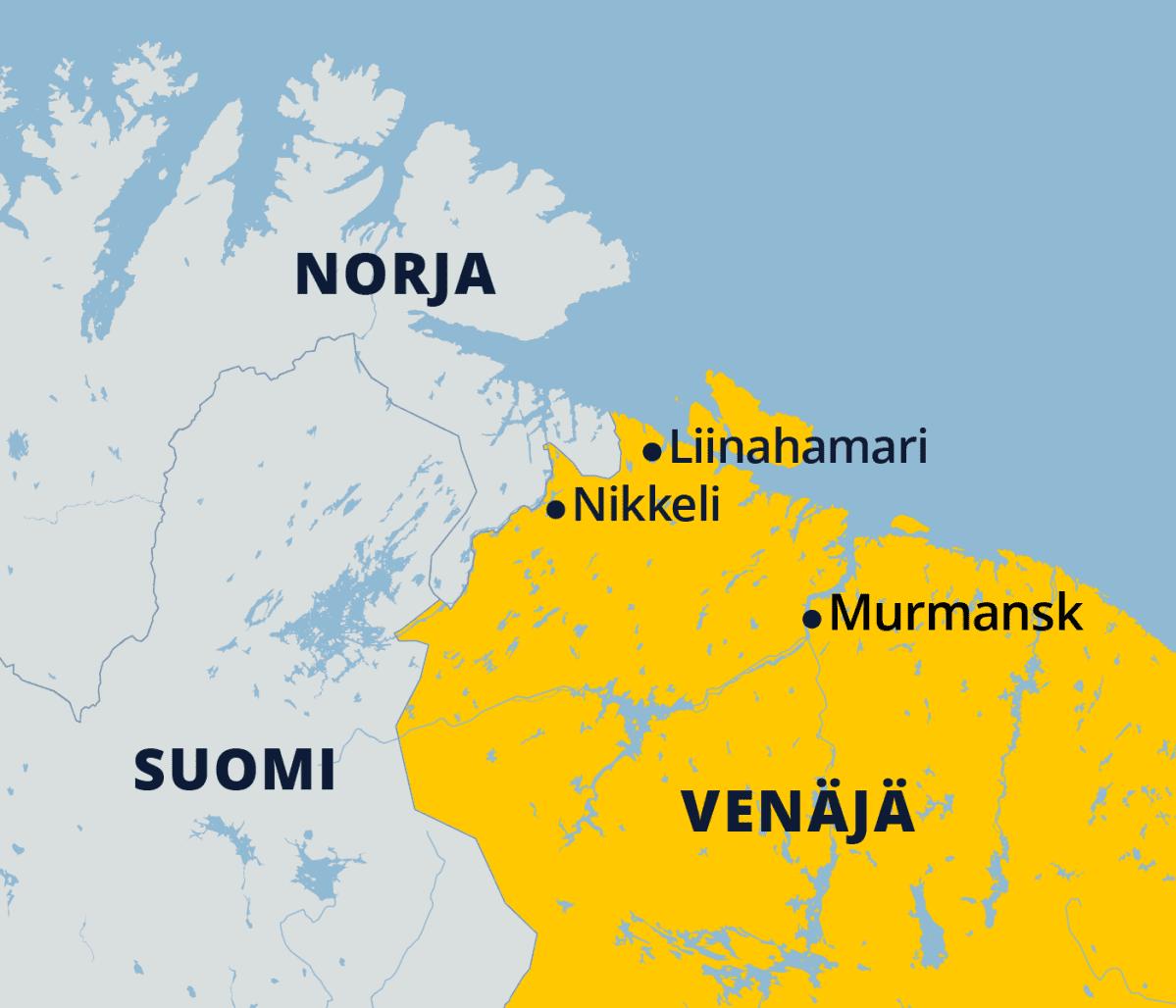 Kartassa Murmansk, Liinahamari ja Nikkeli Kuolan niemimaalla Venäjällä.