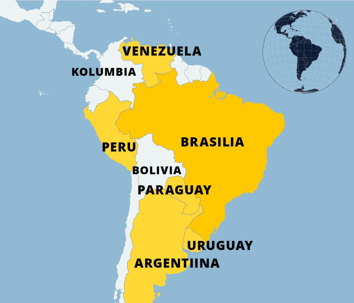 Kartta Etelä-Amerikasta