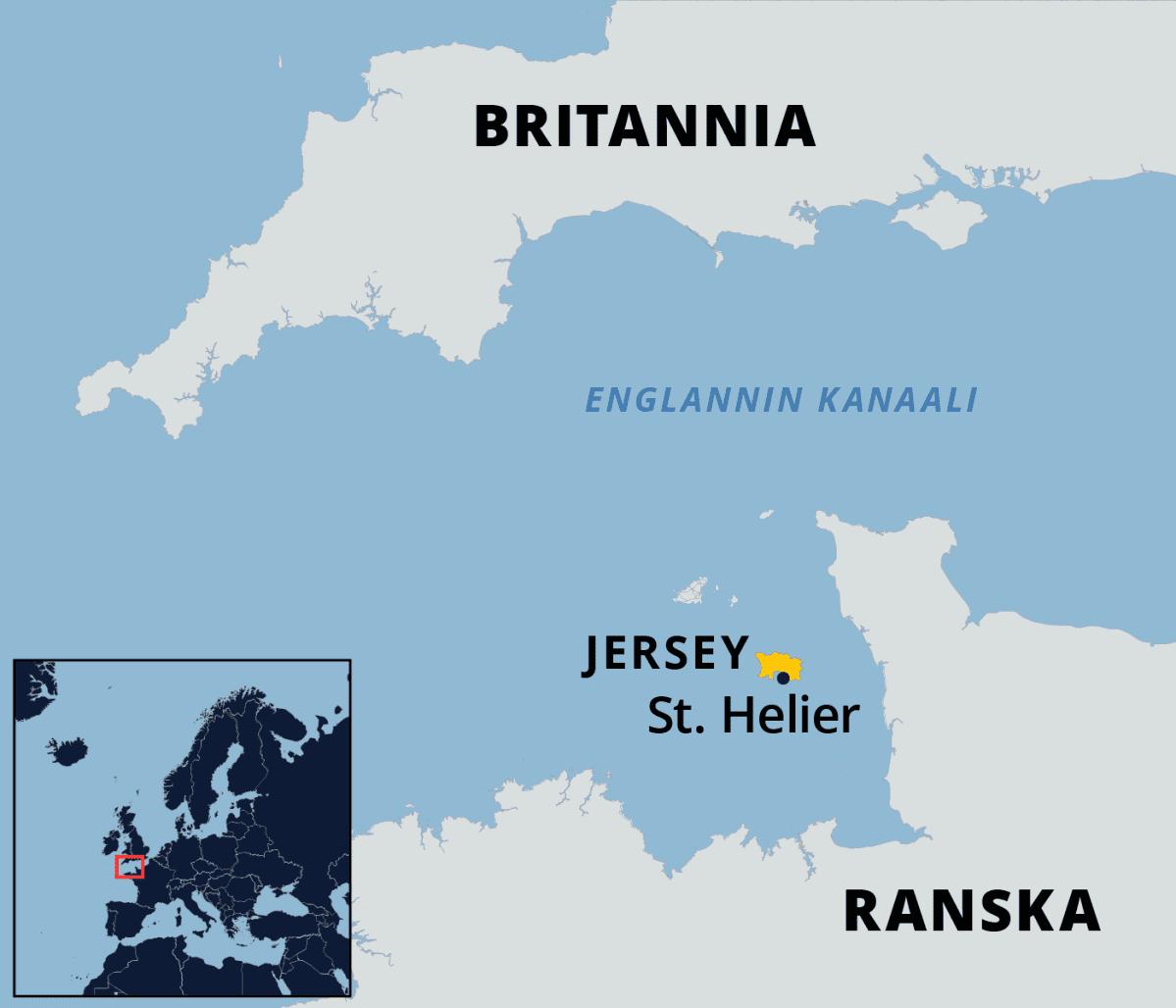 Kartalla jerseyn saari.