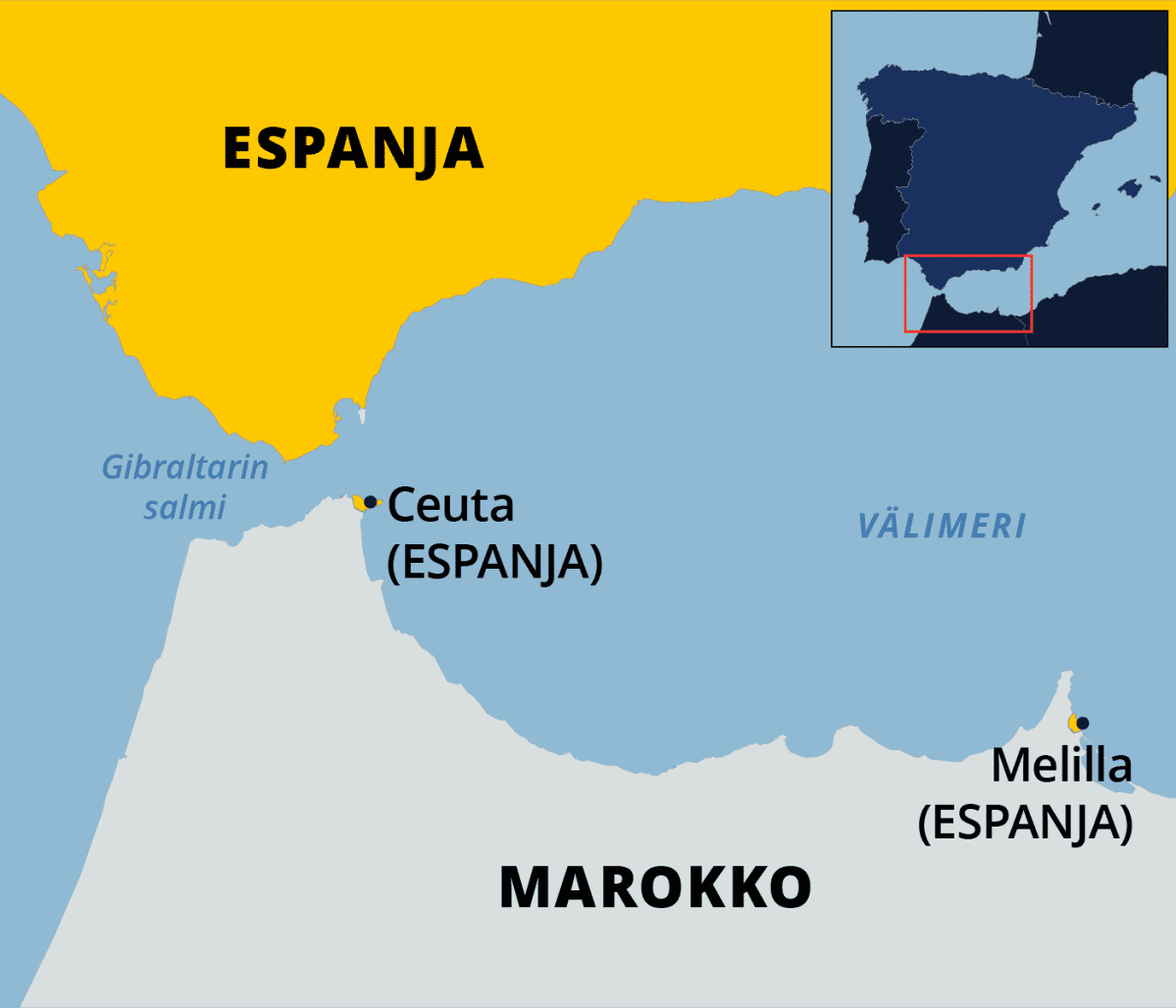 Kartta Gibraltarin salmesta.