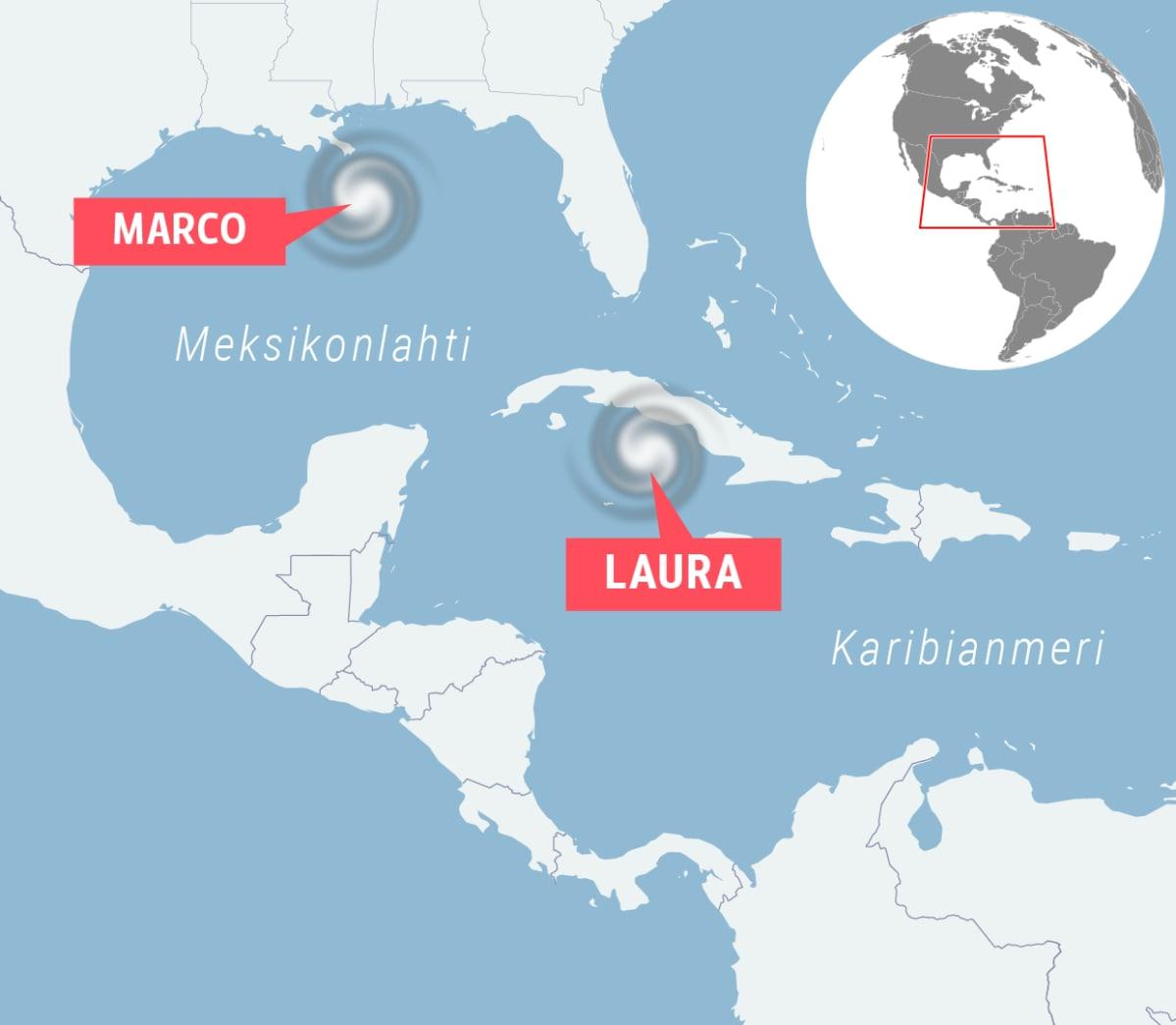 Kartta myrskyistä Meksikonlahdella.