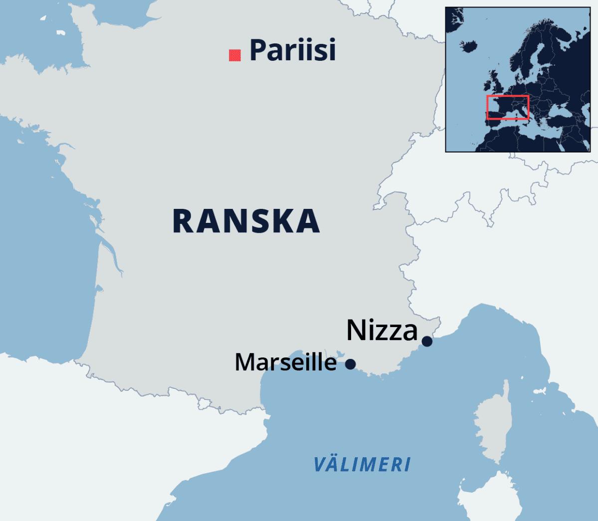 Kartta Ranskasta.