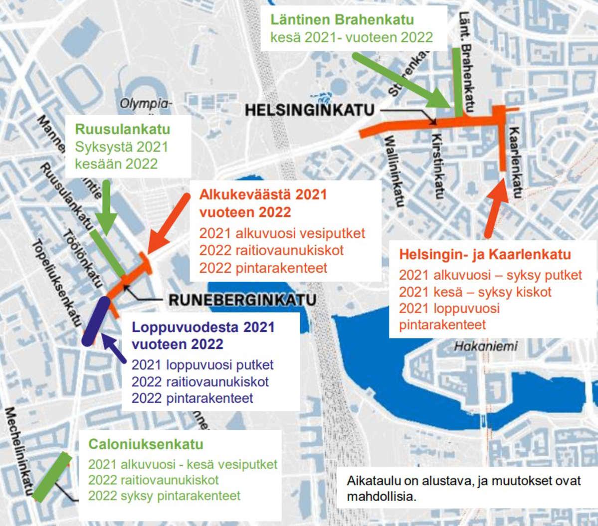 Kartta Kasin katutöiden työmaa-alueesta.