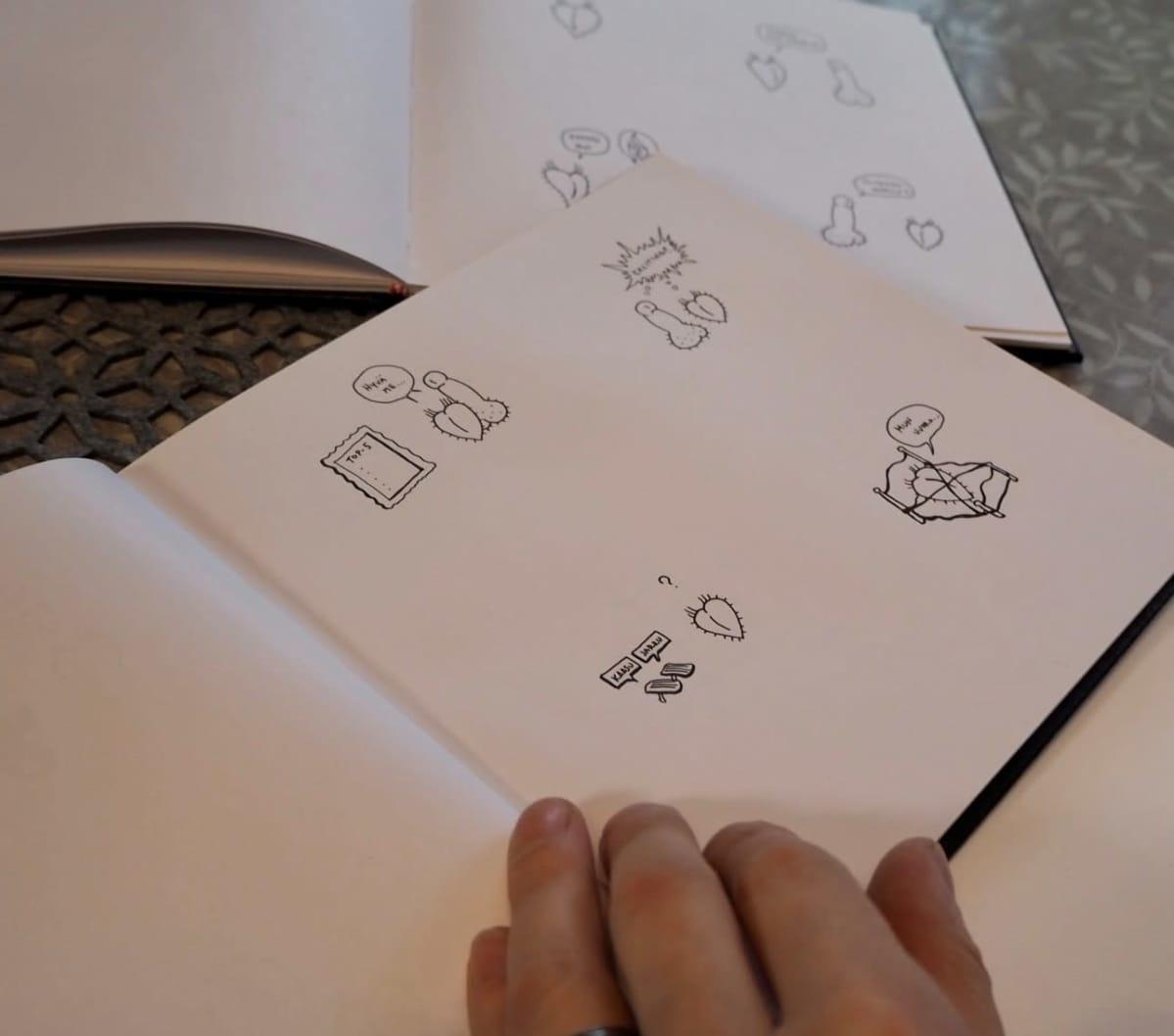 Vihkon sivu, jossa useita piirroksia, jotka esittävät miehen ja naisen sukupuolielimiä.