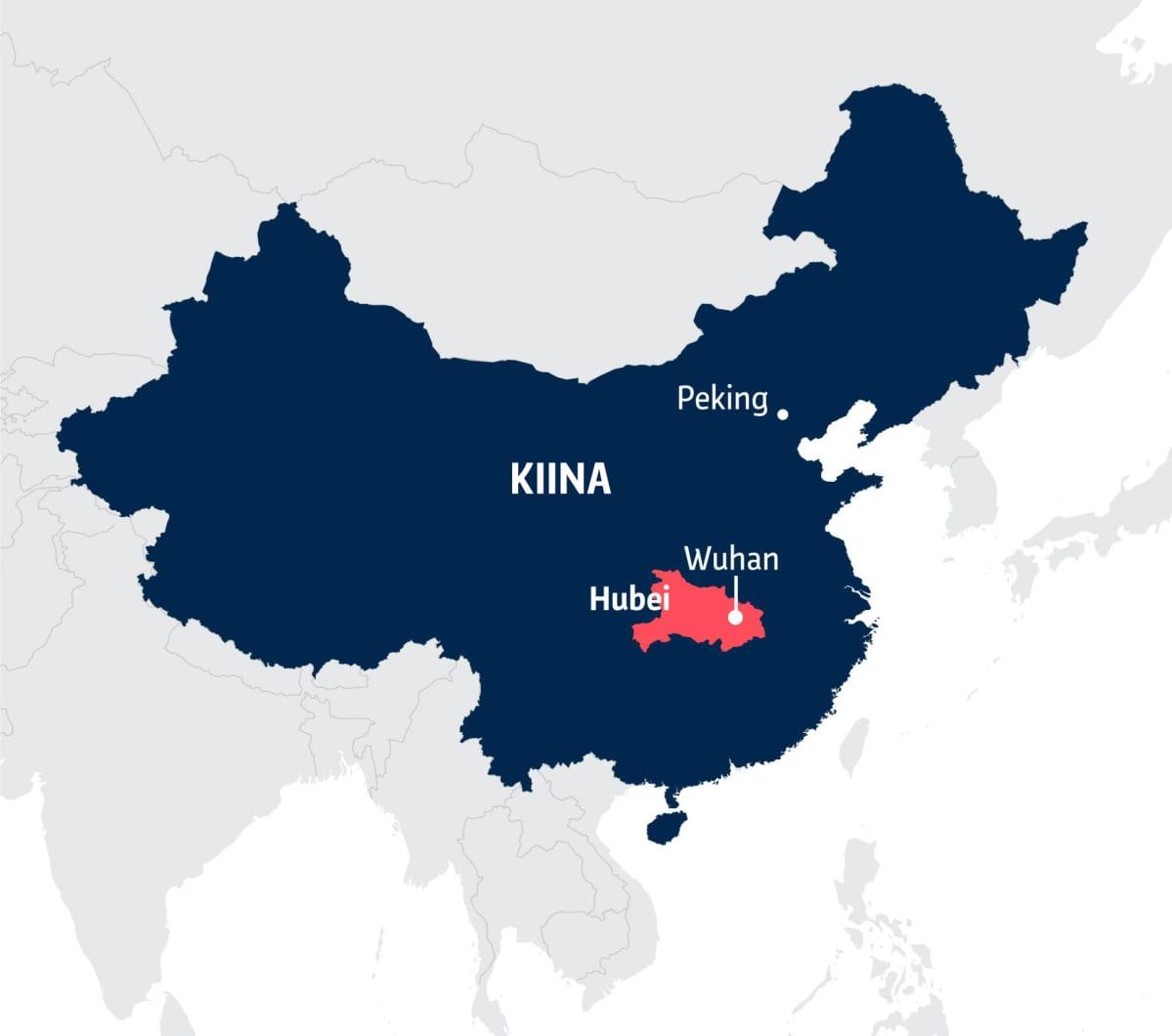 Kiinan kartta, jossa Hubein sekä Pekingin ja Wuhanin kaupunkien sijainnit.