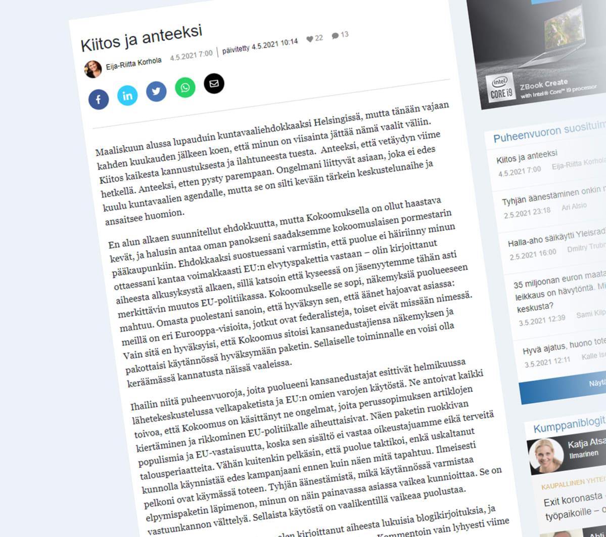 Kuvakaappaus Eija-Riitta Korholan blogista.