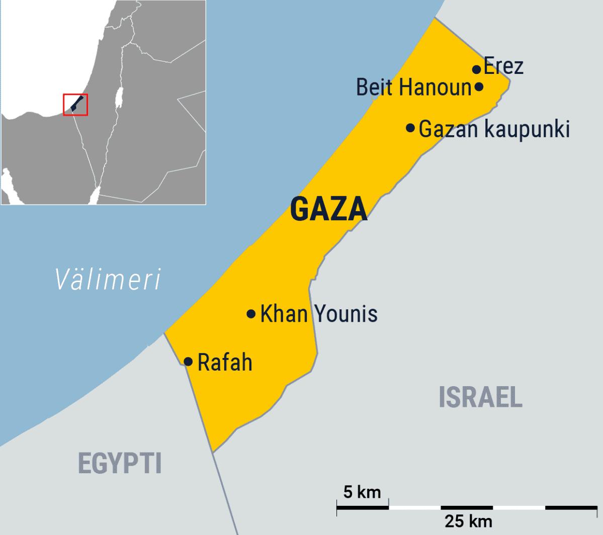 Kartta kaupungeista Gazassa.