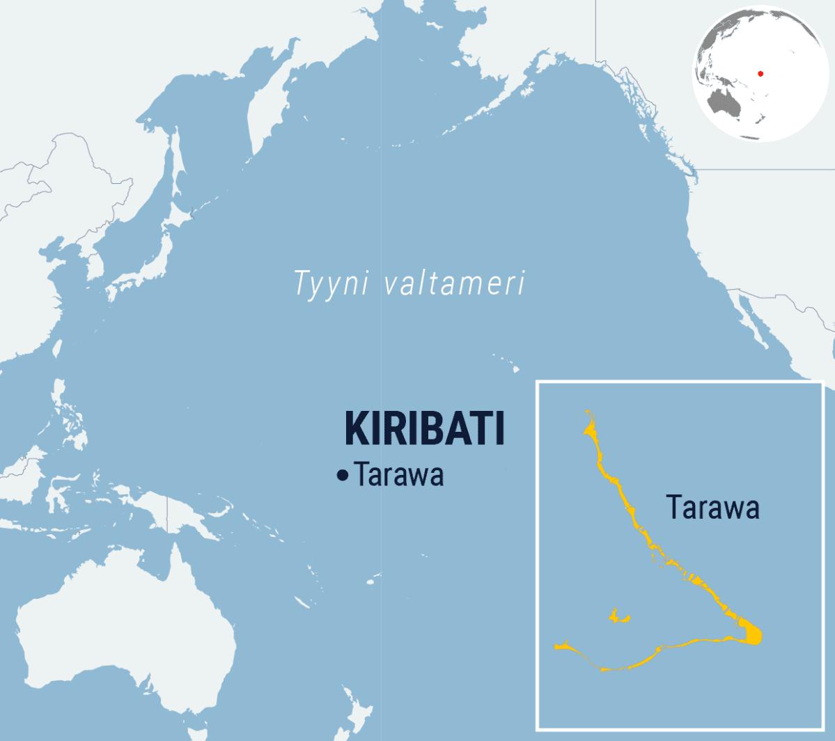 Kiribati ja sen pääatolli Tarawa.