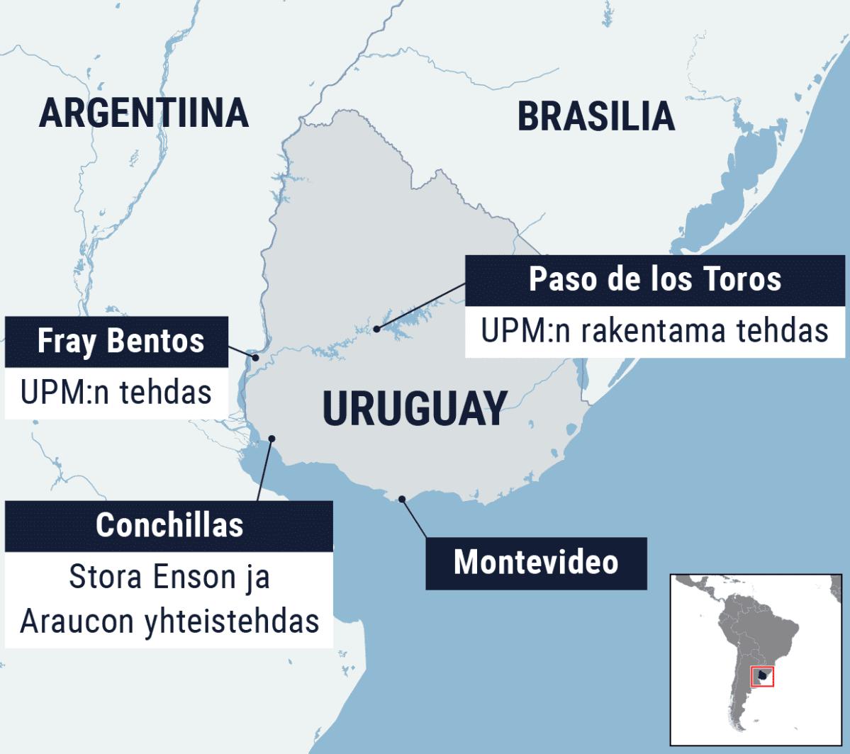 Kartta Uruguaysta.
