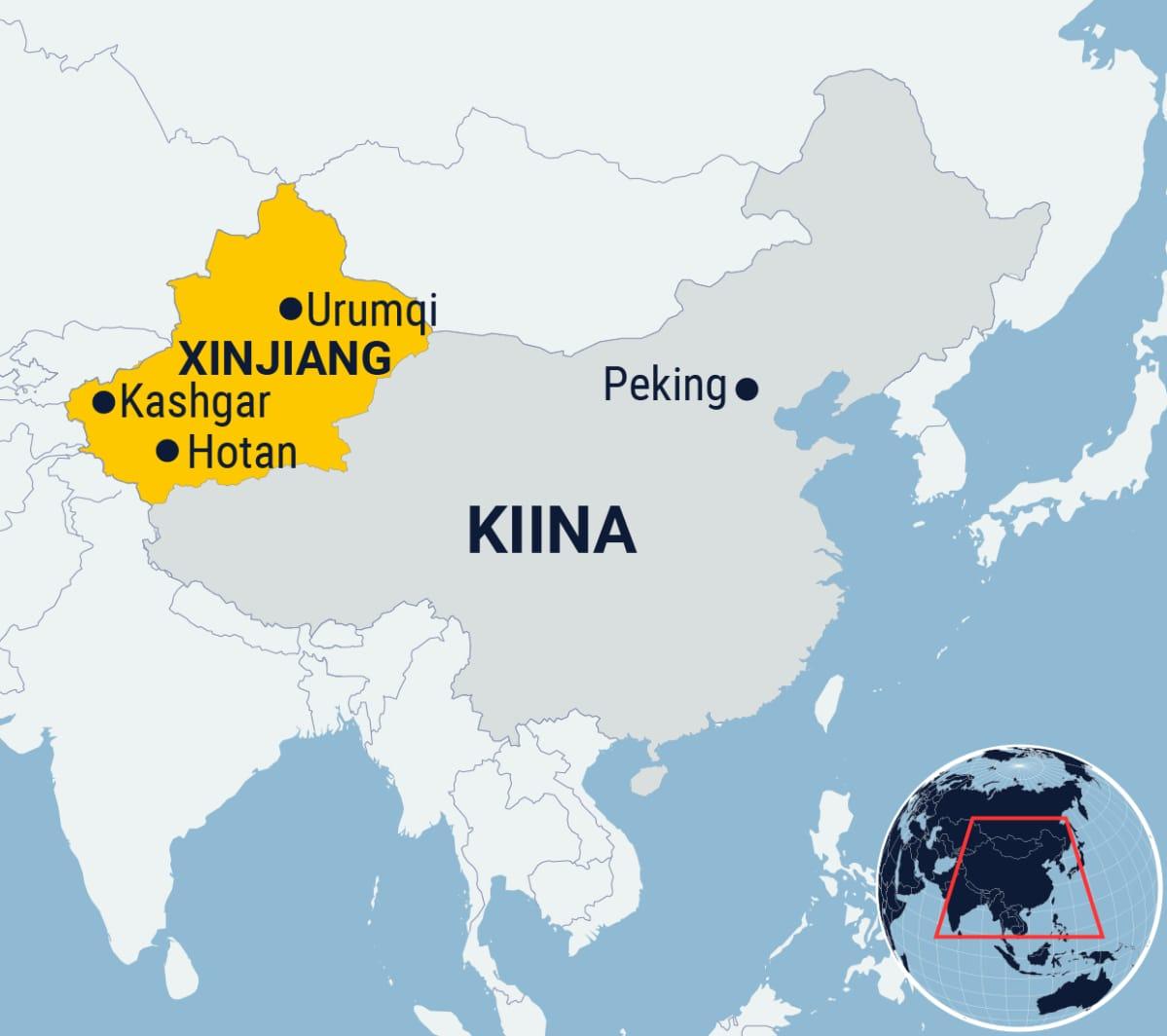 Kartta Xianjiangin maakunnasta Kiinassa.