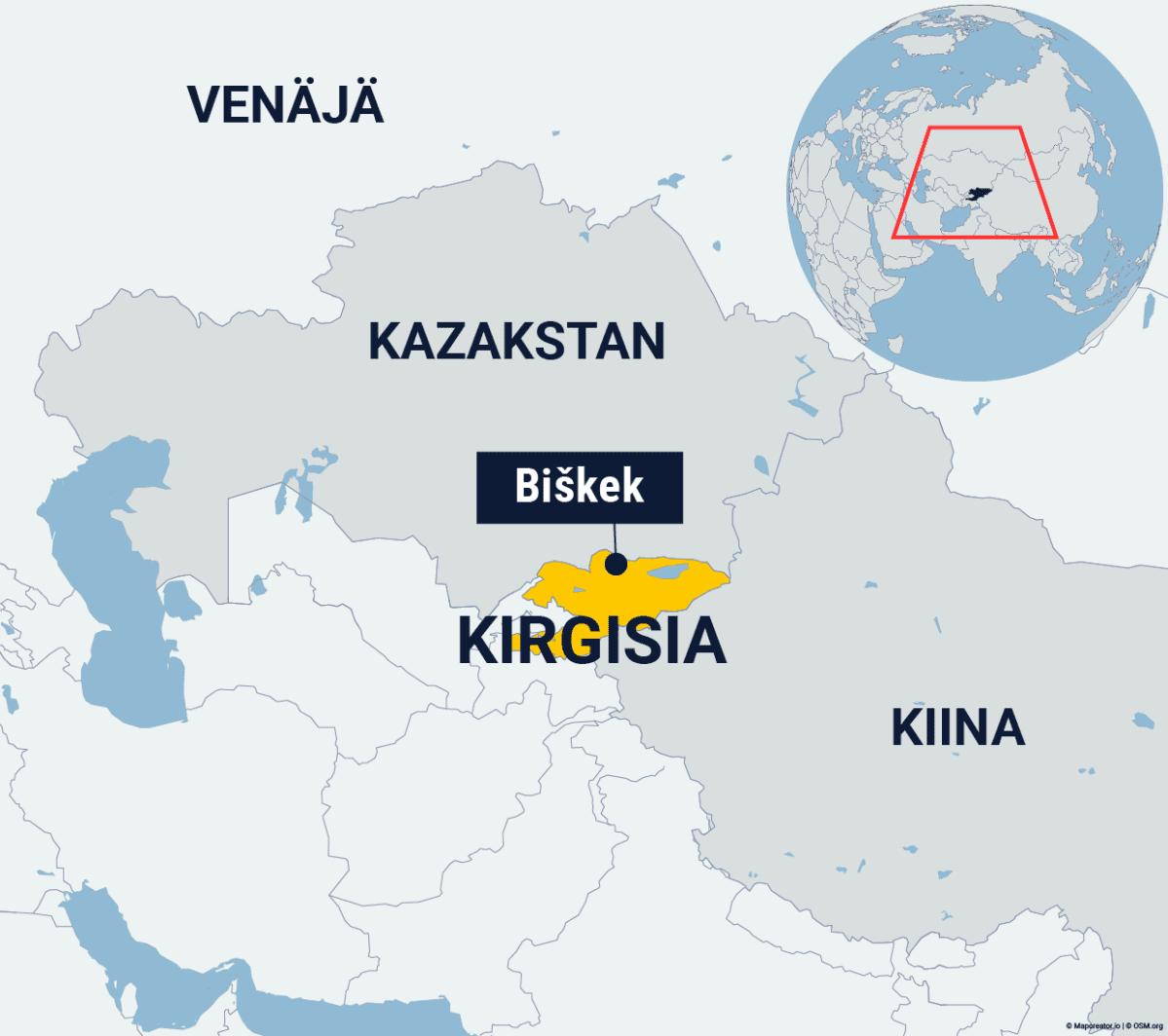Kirgisian ja pääkaupunki Biškekin sijainti kartalla.