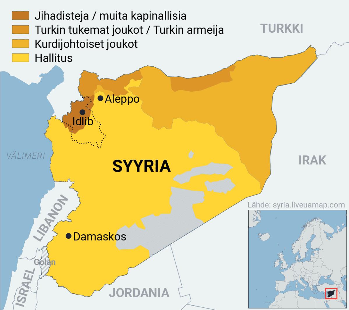 Infokartta Syyriaa hallitsevista joukoista.