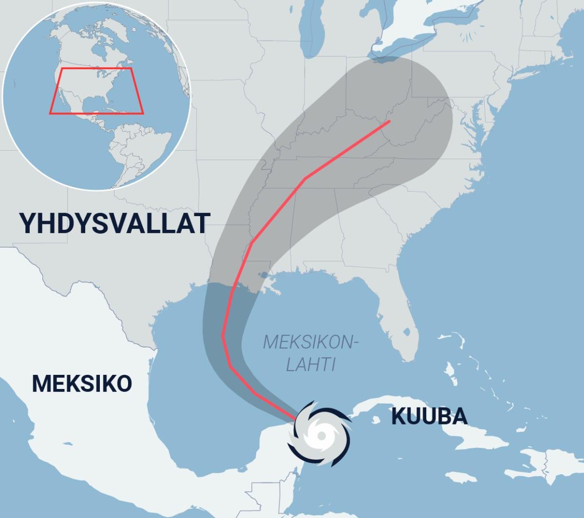Kartta hurrikaani Deltan reitistä.