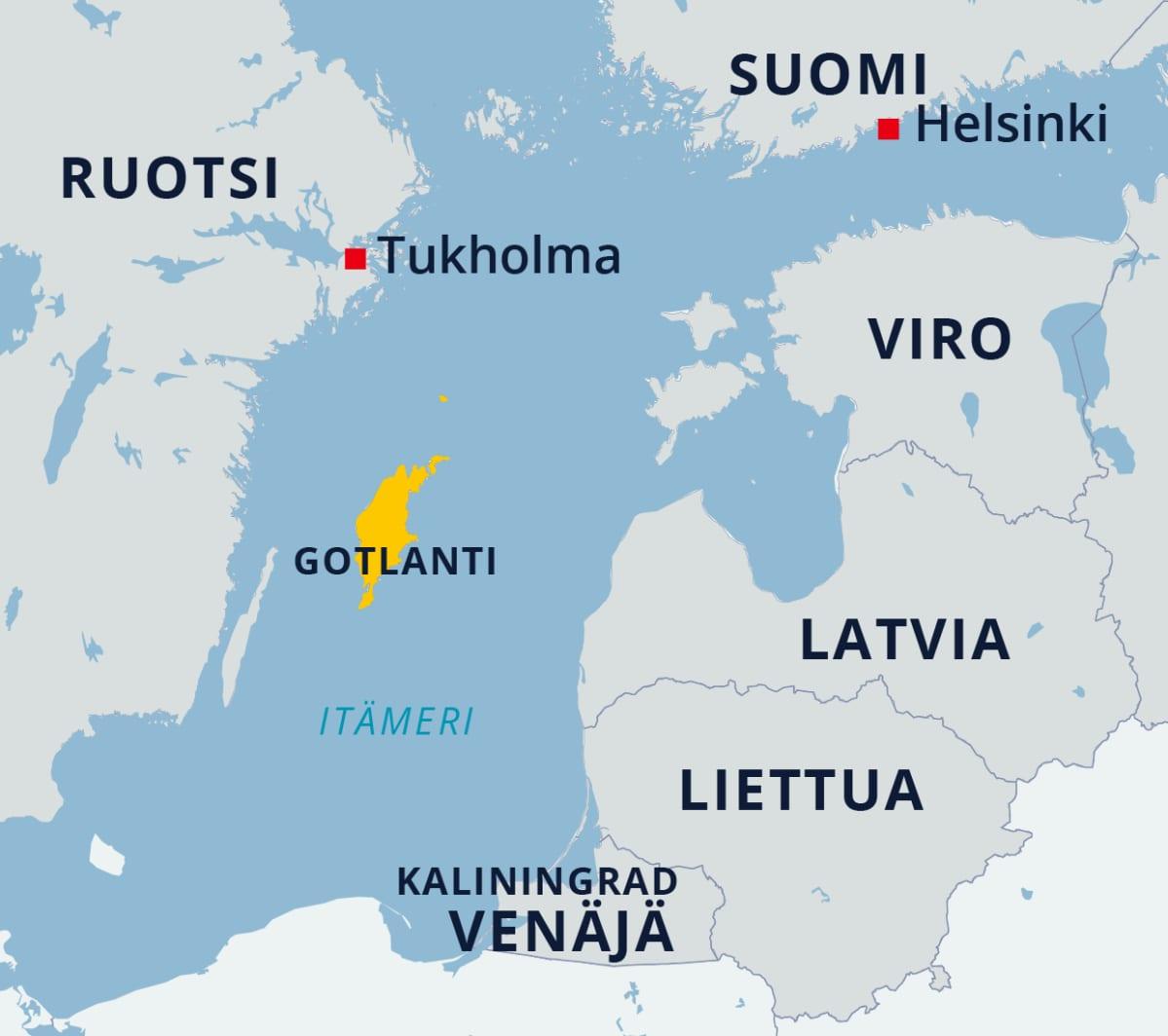 Kartta Gotlannin sijainnista Itämerellä.